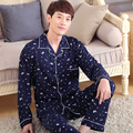 Male sleepwear spring and autumn long-sleeve 100% cotton plus size winter quinquagenarian men's cardigan lounge set
