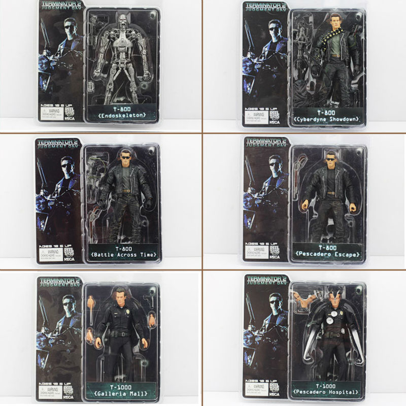 6pcs/lot neca the terminator figure toys t-800 & t-1000 pvc model doll...