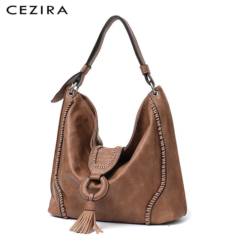 CEZIRA Fashion Vegan Leather Top-handle Bags Female Tote Shoulder Bags Ladies Large Hand Bags Tassel Flap Women Casual Hobo Bags