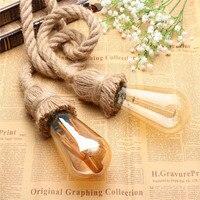Single Double Head Retro Vintage Rope Pendant Light Lamp Loft Industrial E27 Pendant Lamp Edison Bulb
