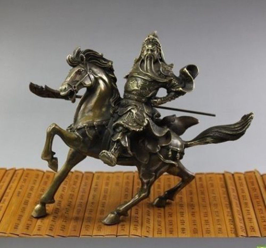 Elaborate Chinese Copper Guan Gong Horse Statue