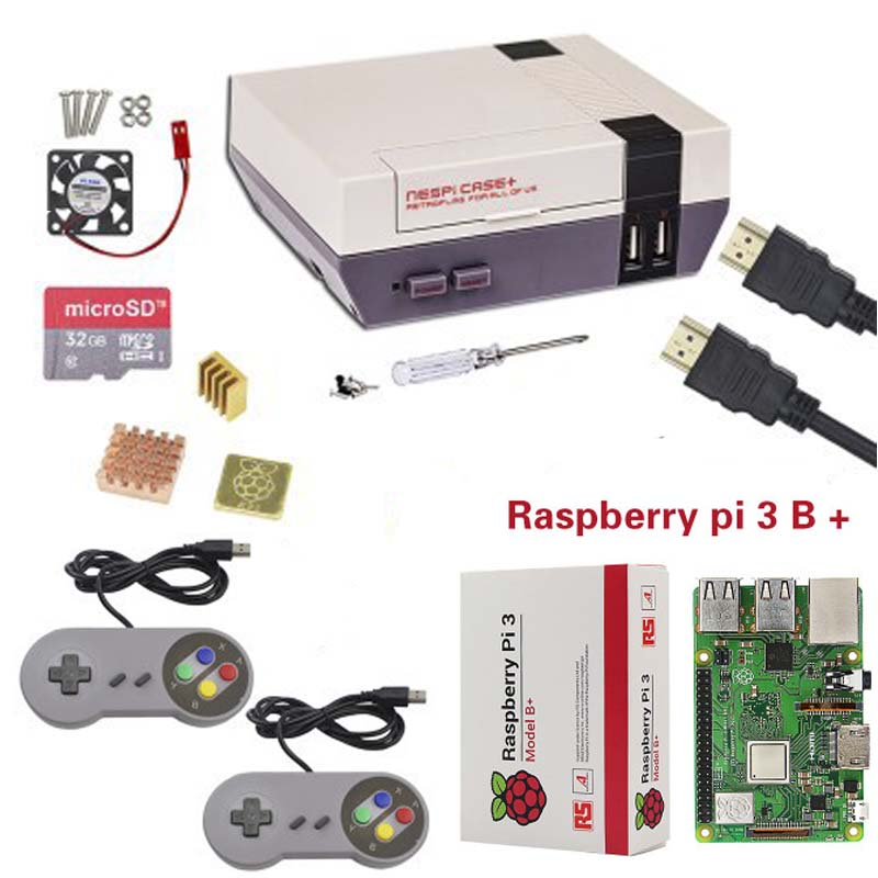 New NESPi CASE Raspberry Pi 3 Model B Kits 16 32GB SD Card fan Heat Sink