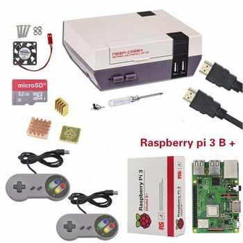 新しい NESPi ケース + ラズベリーパイ 3 モデル B + キット + 16/32 ギガバイトの SD カード + ファン + ヒートシンク + 2 ゲームパッドコントローラ + HDMI ケーブル Retropie - SALE ITEM パソコン & オフィス