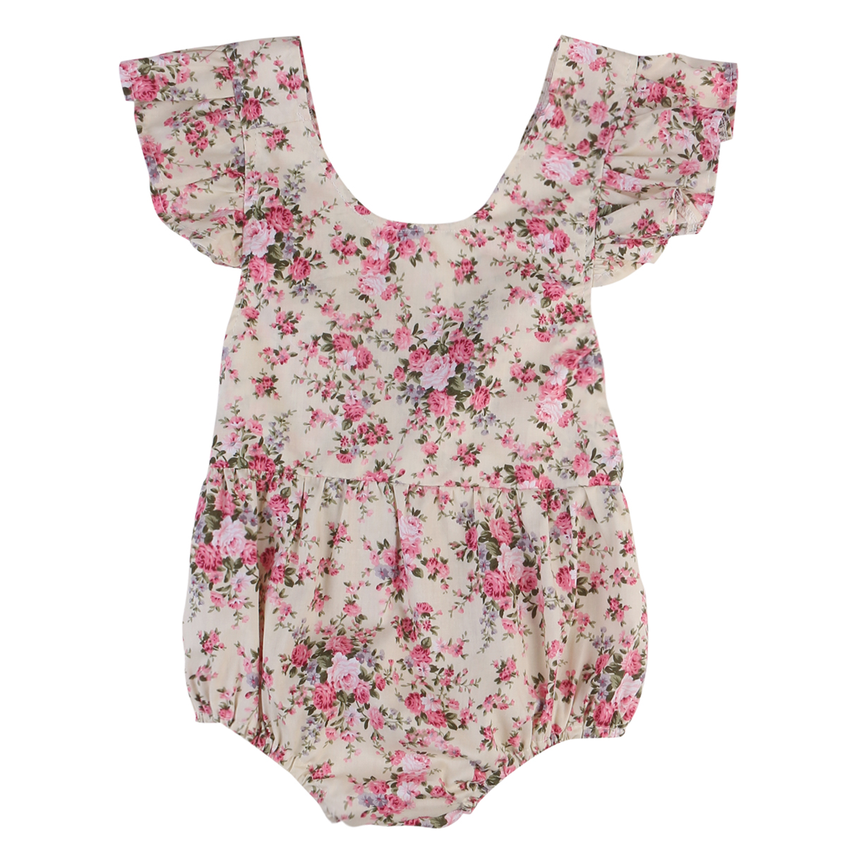 Floral Newborn Baby Girl Romper 2017 Summer Ruffles Sleeve Toddler Kids Jumpsuit Outfits Sunsuit One Pieces summer newborn infant baby girl romper short sleeve floral romper jumpsuit outfits sunsuit clothes