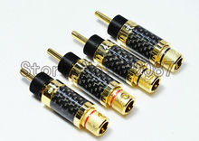 Free shipping 4PCS Speaker Cable Banana Plug Copper Gold Plated Carbon Fiber Terminal Connector