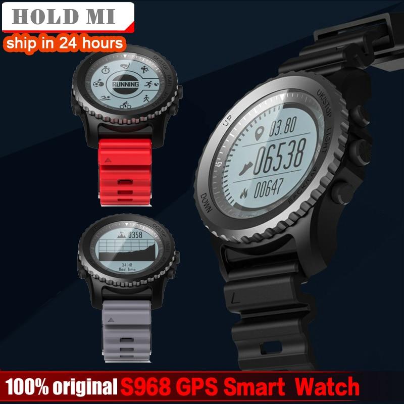 Segure Mi S968 Sport GPS Relógio Inteligente Sono Monitor de Freqüência Cardíaca Pedômetro Termômetro Altímetro GPS Smartwatch À Prova D' Água Dos Homens
