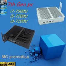 HRF Intel Kaby Göl Core i5 7200U 7th Gen CPU HTPC pencere 10 i3 i5 i7 7200u 7100u 7500u 4 K HD Intel HD Grafik 620 Fansız PC