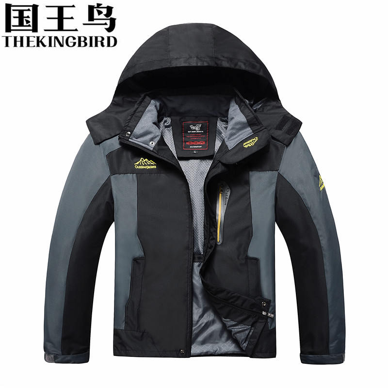 THEKINGBIRD Waterproof windproof jacket Clothes for fishing Hiking jacket Outdoor sport  climbing Men's coat Large size 8XL waterproof windproof protective clothing red fishing clothes