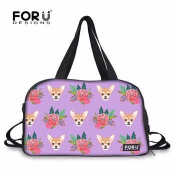 FORUDESIGNS Sport Bag Womne Training Bag Cartoon Chihuahua Printed Yoga Mat Bags Large Tote   Shoulder Bags with Shoes Pocket