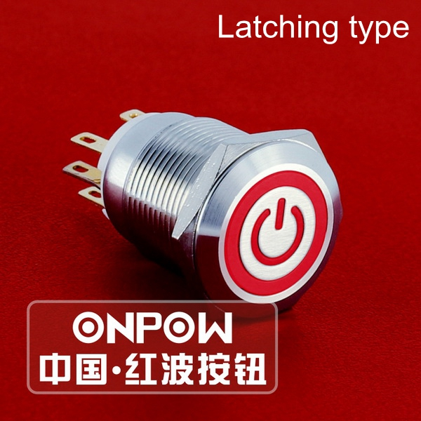 Onpow 19mm Stainless Steel Latching Onoff Power Push Button Switch