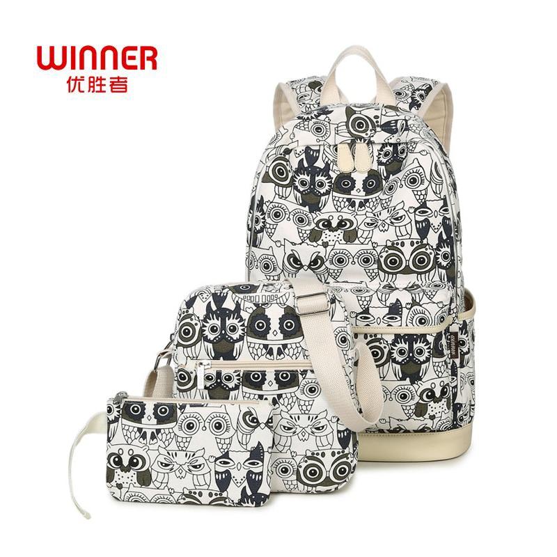 WINNER 2017 New Fashion Women backpack Korean Canvas Printing Backpack for Teenage Girls Mochilas 3Pcs set