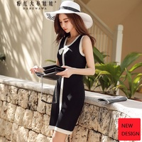 Original 2018 Brand Summer Clothes Female Plus Size New Fashion Short Black Bow Thin Vest Knitted