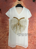 Tops Direct Selling Cotton Broadcloth Long Unicorn Blusa 2017 New Exclusive Custom Heavy Industry Beaded Sequins Love T shirt
