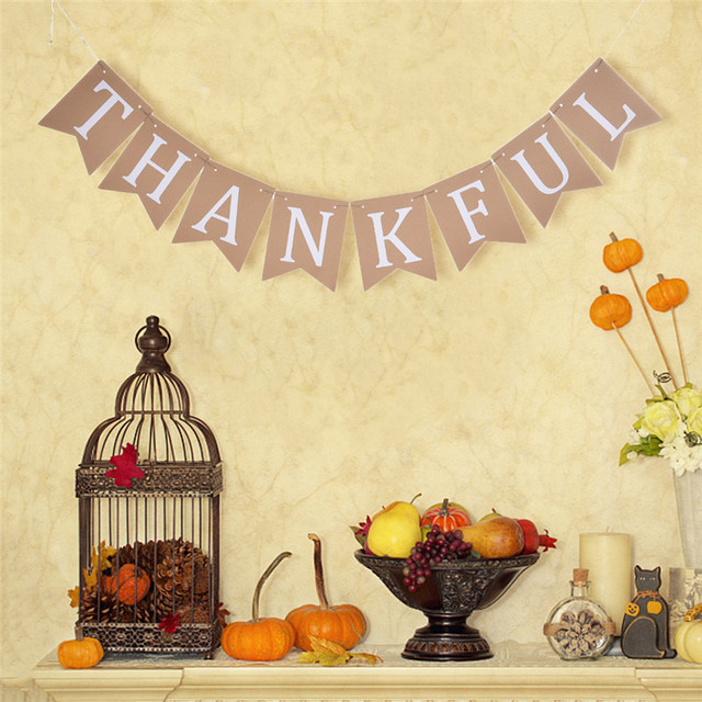 Retro THANKFUL Banner Thanksgiving Day Garland Bunting Decorative ...