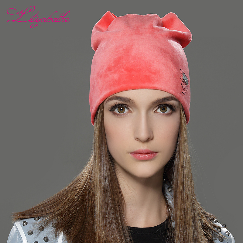 5ed9a0c5ceab6 LILIYABAIHE Women Autumn And Winter Hat Ladies Cat Girls Hats For Women  Skullies Beanies Fluff Caps Touca Caps