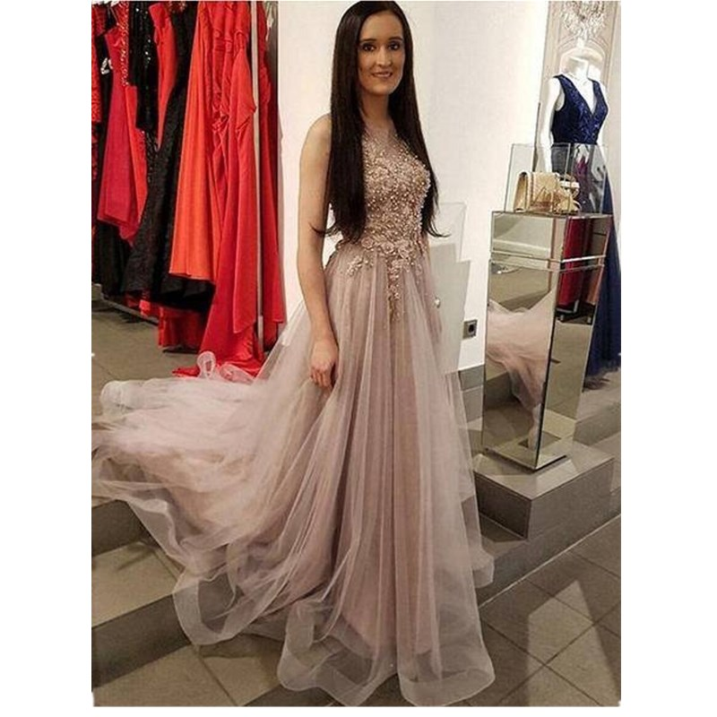 Cinderella Elegant Scoop Sleeveless Floor Length Lace Applique Crystal Beaded Soft Tulle   Prom     Dresses   Crystal   Prom   Party Gown