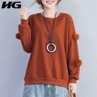 [XITAO] Autumn Women New 2017 Korea Solid Color Full Sleeve O-Neck Sweatshirts Female Fashion Loose Pullover Sweatshirts XWW669