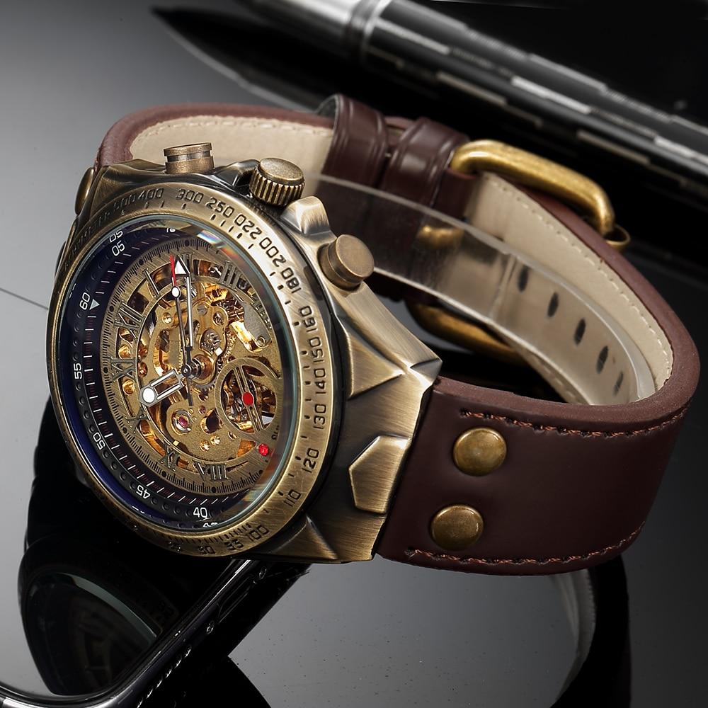 Mechanical Watch Men Automatic Watch Mens Skeleton Watches Bronze Leather Steampunk Transparent Vintage Sport Wristwatch Male