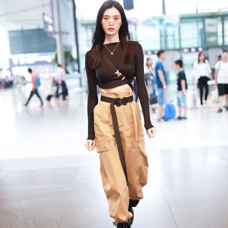 Casual Hip Hop   Pants     Capri   Leggings Jogger Women Military Khaki Cargo   Pants   Female Loose Trouser Cotton Harem   Pants   High Waist
