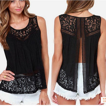 Pop New Nice Fashion Summer Women Chiffon Crochet Lace Vest Blouse Shirt Sexy Open Back Sleeveless Shirt TankTops Black   A811