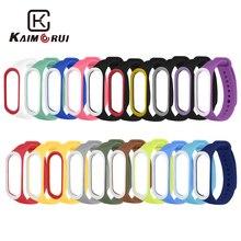 Banda inteligente acessórios para xiaomi mi banda 3 4 cinta substituição pulseira dupla cor silicone pulseira para mi banda 4 cinta