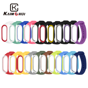 Image 1 - Smart Band Accessories For Xiaomi Mi Band 3 4 Strap Replacement Wristband Double Color Silicone Bracelet for Mi Band 4 Strap