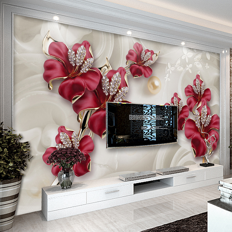 Custom Wallpaper For Walls 3 D Modern European Style Art Mural Diamond Jewelry Flower Living Room TV Background Photo Wallpaper