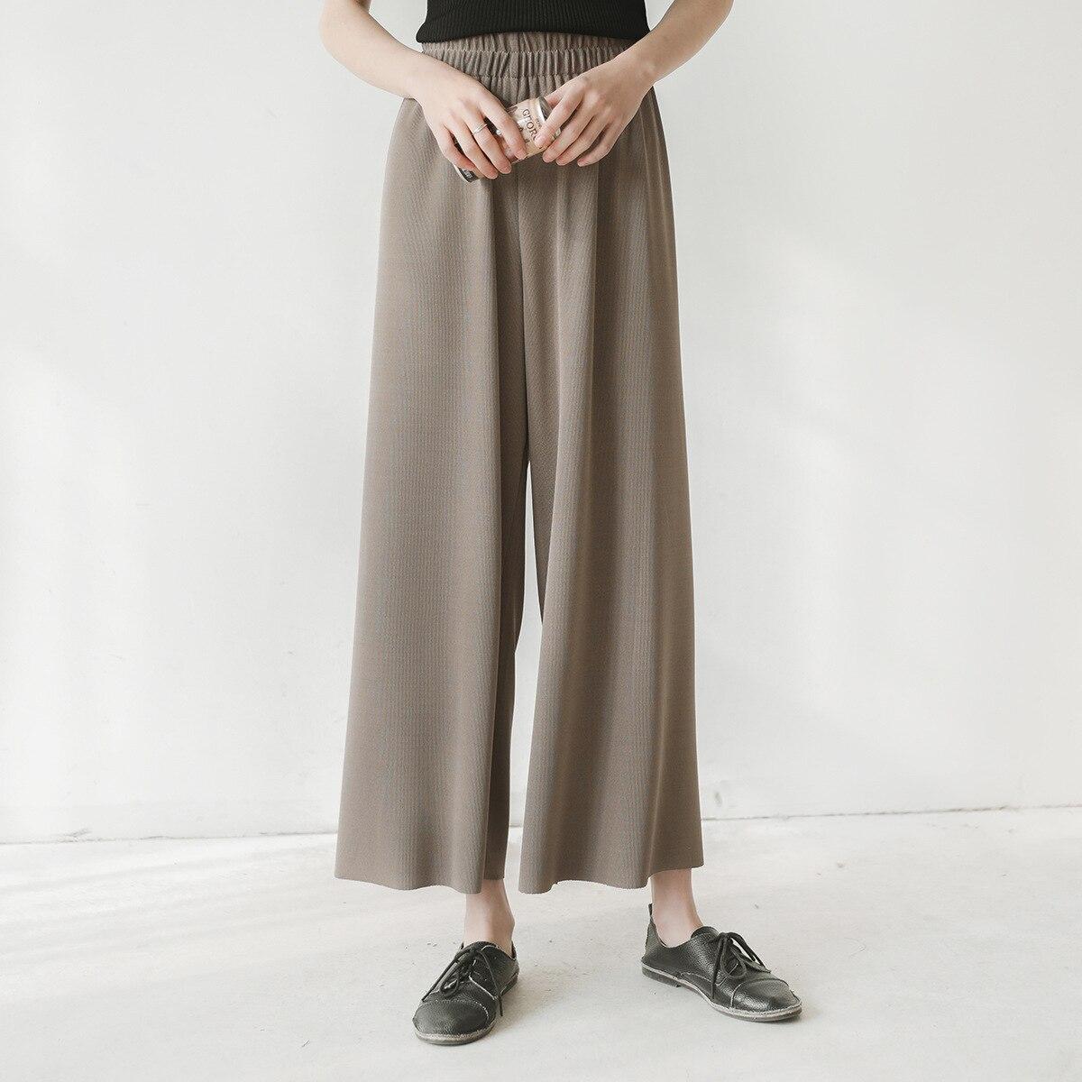 2019 New Arrival Korean Style Chic Elegant High Waist Loose   Wide     Leg     Pants   Ankle-length Slacks For Women Free Shipping