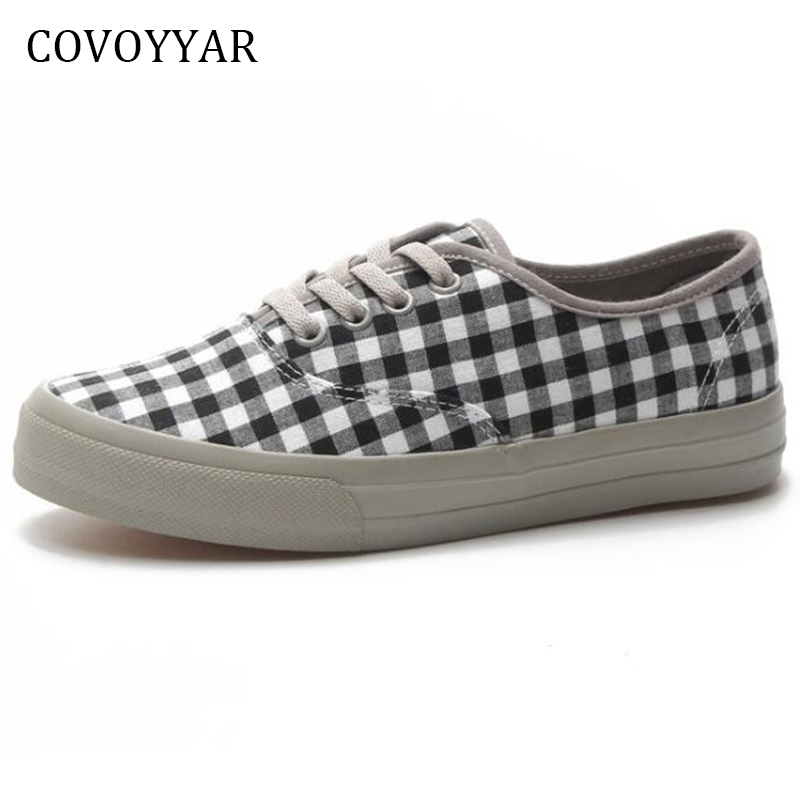 COVOYYAR Canvas Shoes Women Sneakers Chechered Platform Autumn Spring Lace-Up WSN645