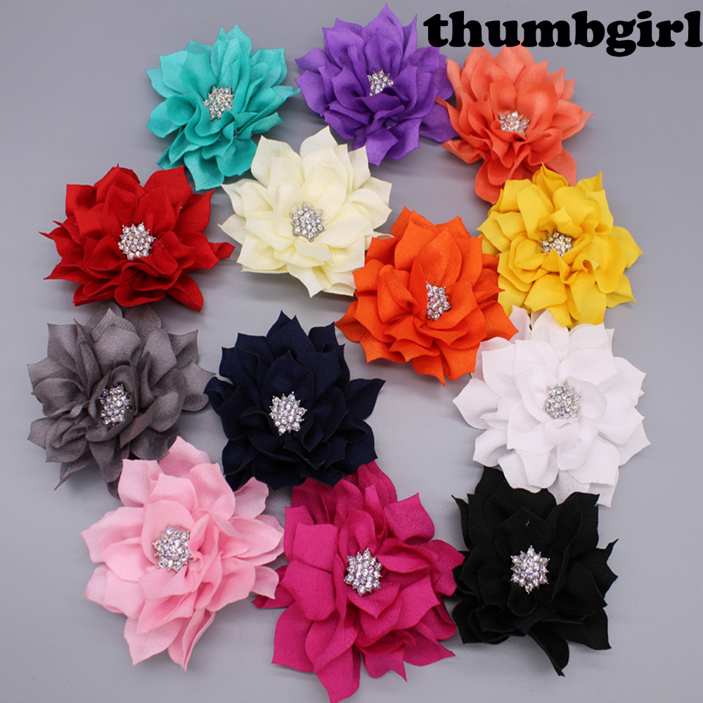 20pcs/lot 3.6 Artificial Lotus Flowers With Rhinestone Button For Hair Accessories Fabric Flowers 13colors For Headbands
