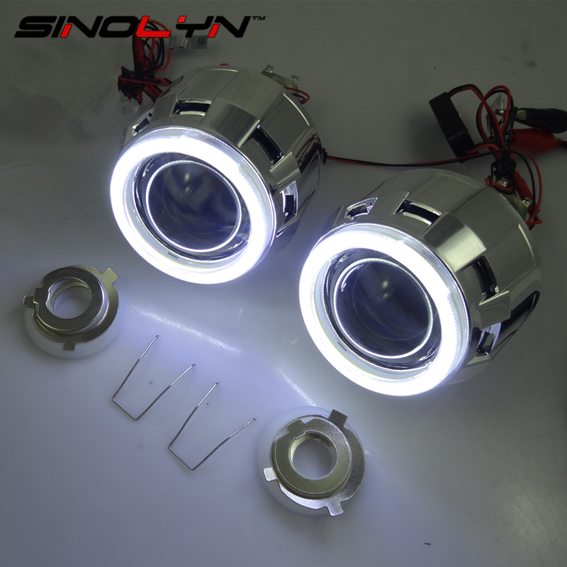 ФОТО Car Styling Automobiles LHD/ RHD Retrofit MH1 2.5 inch COB LED Angel Eyes Halo HID Bi-xenon Projector Lens Headlight Kit H4 H7