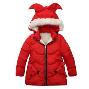 Image 4 - Winter Warm Thicken Fur Collar Long Child Coat Children Outerwear Windproof Fleece Liner Baby Girls Jackets For 100 120cm