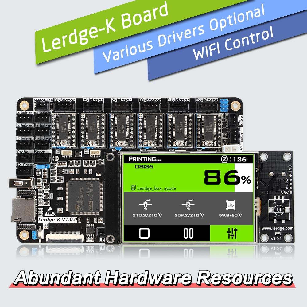 LERDGE 3D imprimante conseil ARM 32Bit contrôleur carte mère 3.5 pouces Kit bricolage pièces carte mère PT100 TMC2208 A4988 pour Ender 3 CR10
