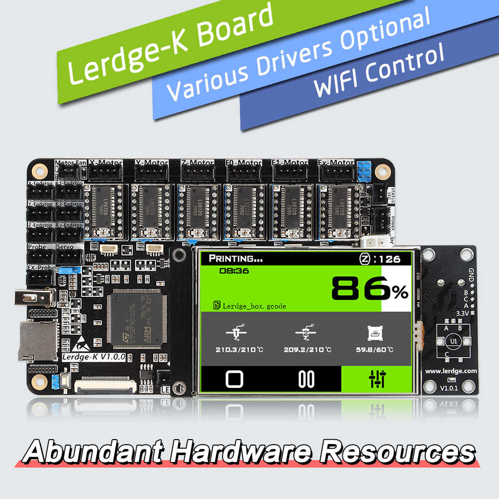 Placa de impresora 3D LERDGE, placa base con controlador ARM 32Bit, Kit de piezas Diy, placa base PT100 TMC2208 LV8729 TMC2209 para Ender 3 CR10