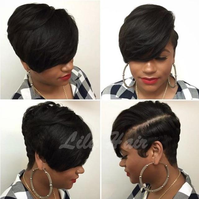 Layered Pixie Cut Wig Long Bangs Short Bob Wigs For Black Women Straight Human Brazilian