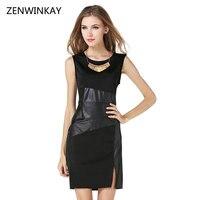 2017 Women Sexy Bodycon Pencil Dress Women's Short O Neck Dresses Womens Sleeveless Black Vestido Split Pu Fashion Tunic
