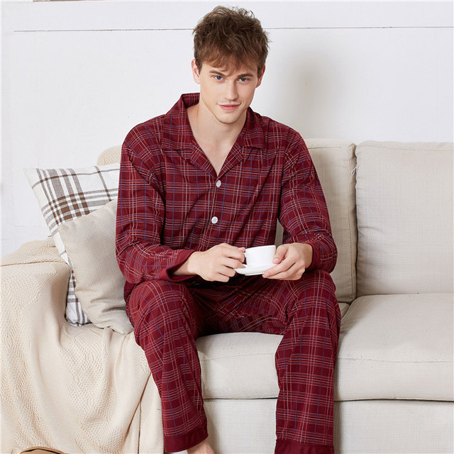 Men's pajamas middle-aged men cotton long-sleeved cardigan summer thin models men's spring and autumn cotton tracksuit