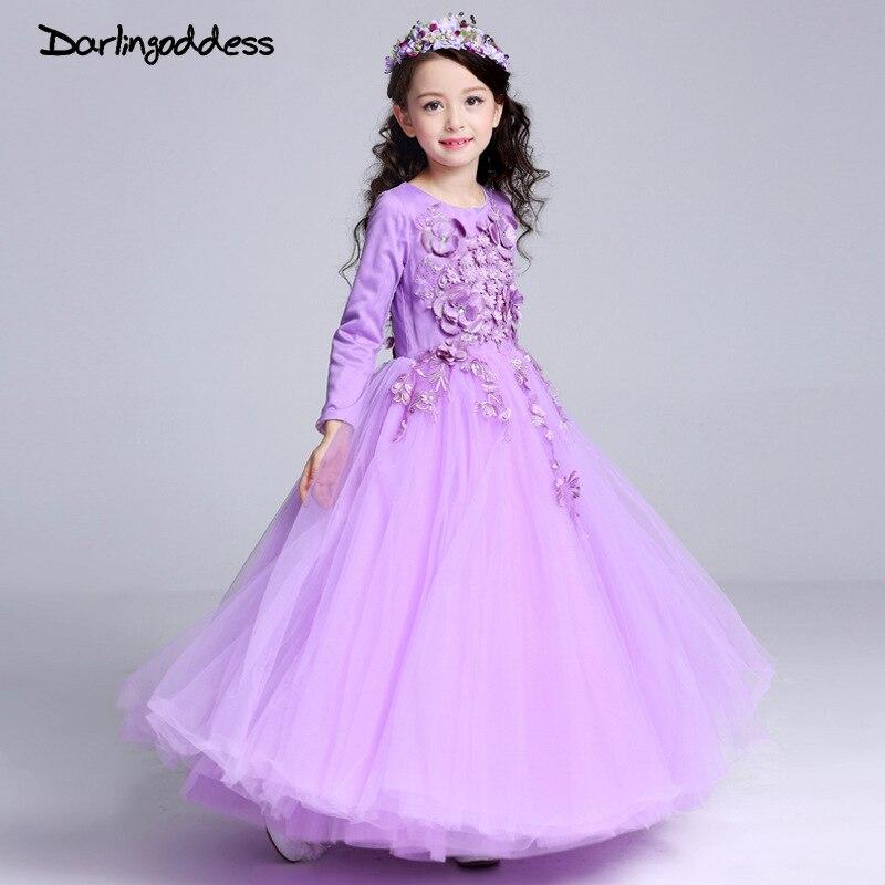 Darlingoddess Purple Long   Flower     Girl     Dress   for Wedding Birthday   Girl   Kids Evening Prom   Dresses   Floor Length Pageant Gowns 2018
