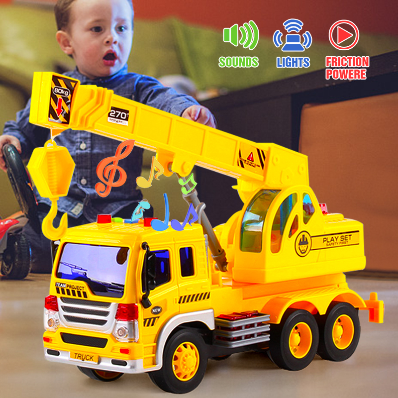 1/16 Vehicle Engineering Car Model Inertial  Plastic With Light Music Gift Kids Children toys for boys