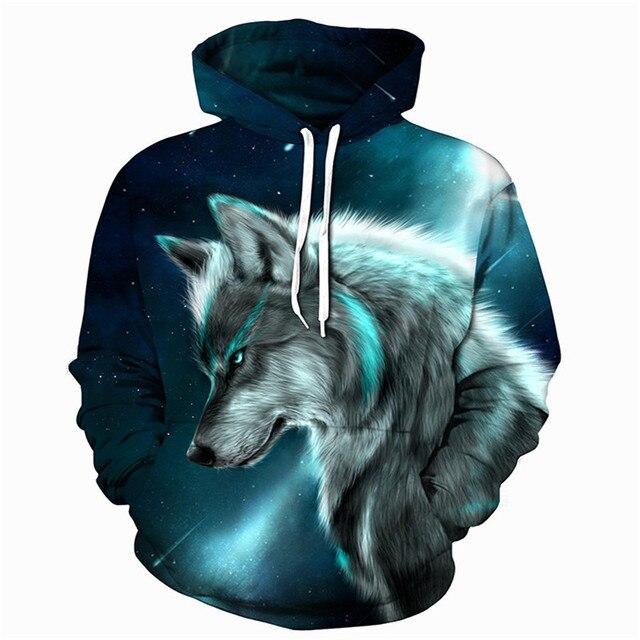 Erkek tişörtü 3D baskı buz yangın kurt çocuk çocuklar hayvanlar uzun kollu hoodies kız bebek outwearer tops kazak hoodie