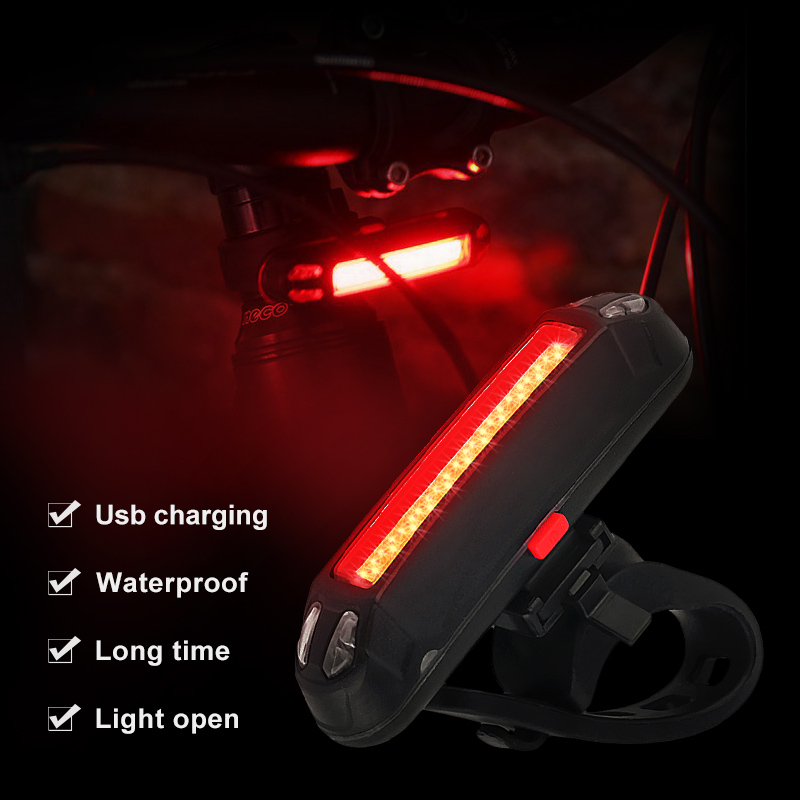 Outdoor Bicycle Light 100 Lumens 3 Mode LED Cycling Bicycle Rear Light  Rechargeable Monochrome Double Color Taillights