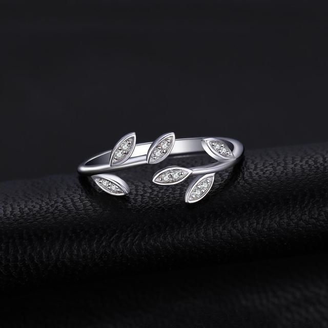 JewelryPalace Olive Leaf CZ Rings 925 Sterling Silver Rings for Women Open Stackable Ring Band Silver 925 Jewelry Fine Jewelry