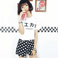 Kawaii Harajuku Stil Yaz Kadın T-shirt Beyaz Japon & Kore Kız t Shirt Kadın Tee Vogue Sokak Bayan Tişört S-XXL