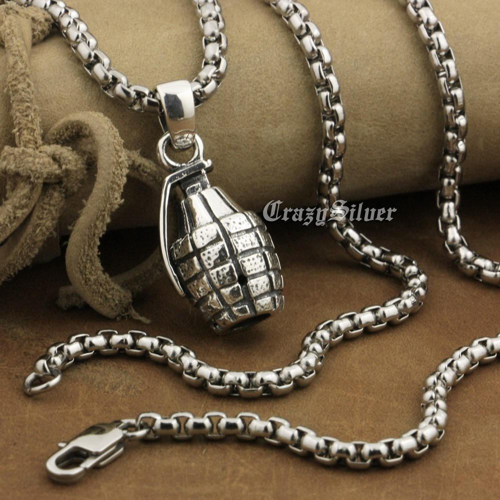 LINSION 925 Sterling Silver Hand Grenade Pendant Mens Biker Punk Pendant 8A041 Stainless Steel Necklace 24