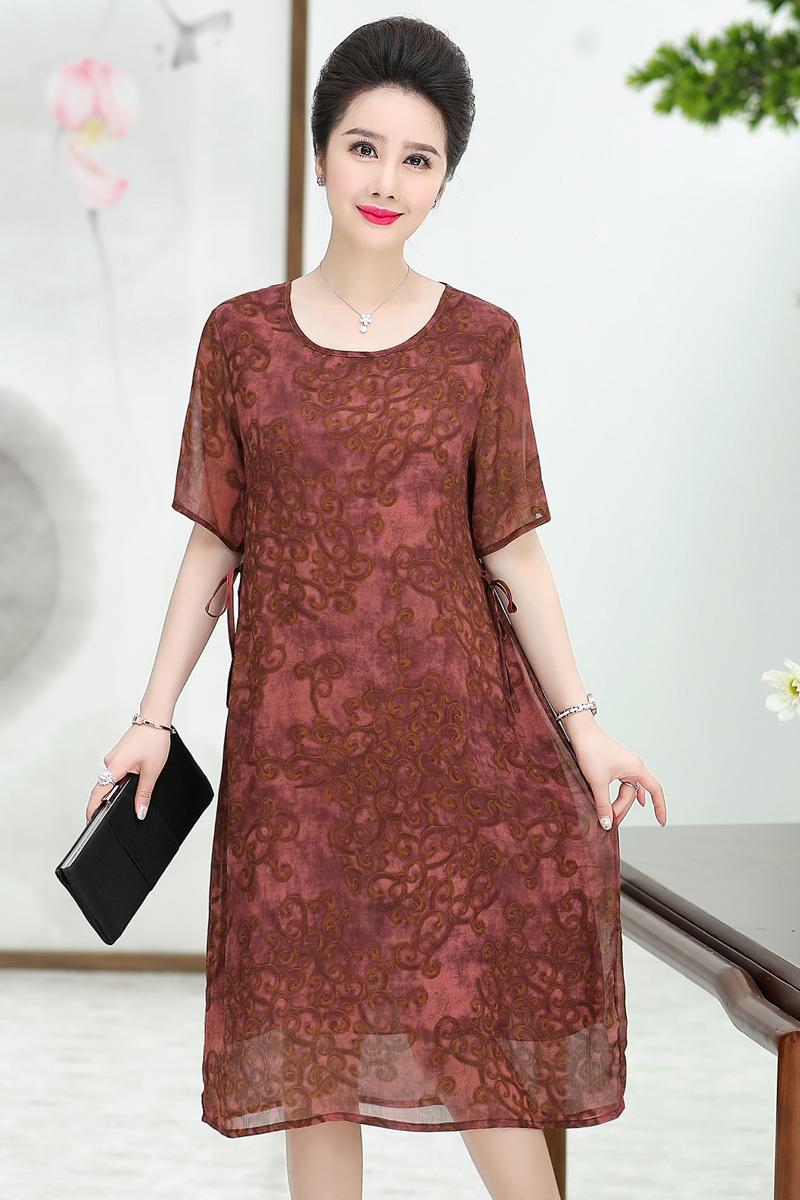 Vintage Middle Aged Women Dsummer Casual Elegant O neck Short Sleeve Summer Floral Print Dress Vestidos Plus Size in Dresses from Women 39 s Clothing