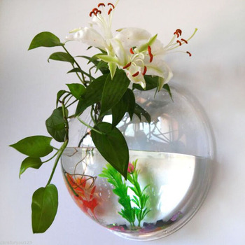 2 sizes Pot Plant Wall Mounted Hanging Aquarium Transparent Acrylic Fish Bowl Fish Tank Flower Plant Vase Home Decoration