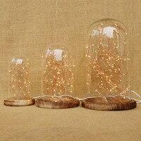 LukLoy Nachtlicht, Glasglocke Nachtlampe mit Led Kupferdraht String Licht für Tisch Nacht Anzeige Weihnachten Hochzeit Geschenk