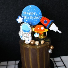 Theme-Cake-Topper Cake-Decorating Birthday-Party-Supplies Astronaut-Space Happy-Birthday