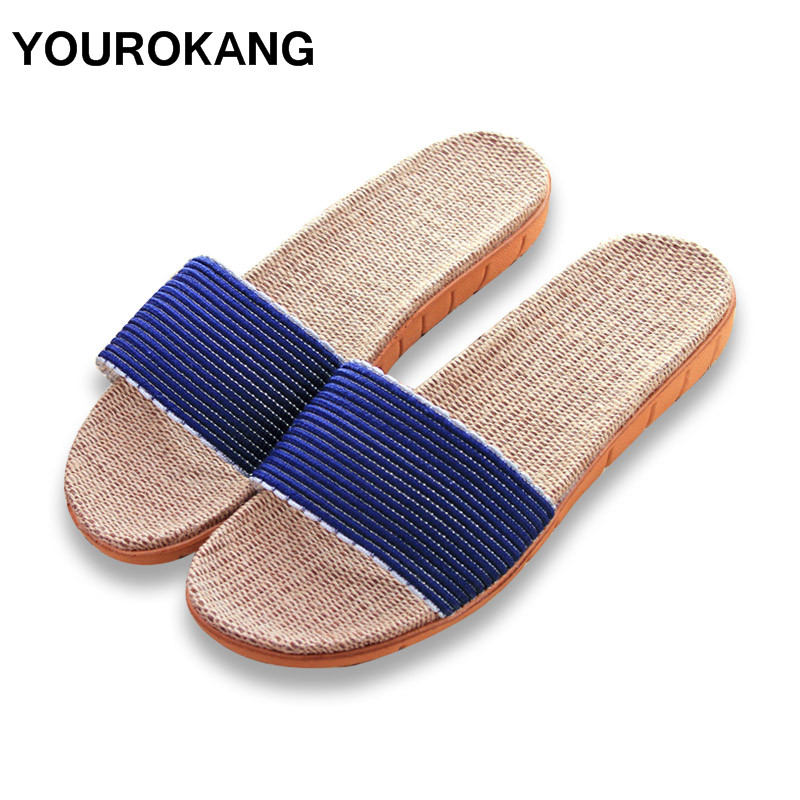 YOUROKANG Summer Autumn Couple Shoes Home Slippers Slides Indoor Floor Lace Antiskid Solid Color Men Flax Slippers DropshippingYOUROKANG Summer Autumn Couple Shoes Home Slippers Slides Indoor Floor Lace Antiskid Solid Color Men Flax Slippers Dropshipping