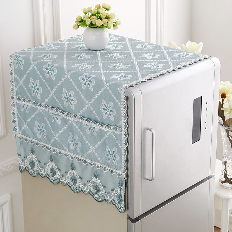 Fyjafon Refrigerator Covers Jacquard Kitchen Dustproof Covers Embroidery Dust Cover With Storage Bag 55*140//60*170/70*170